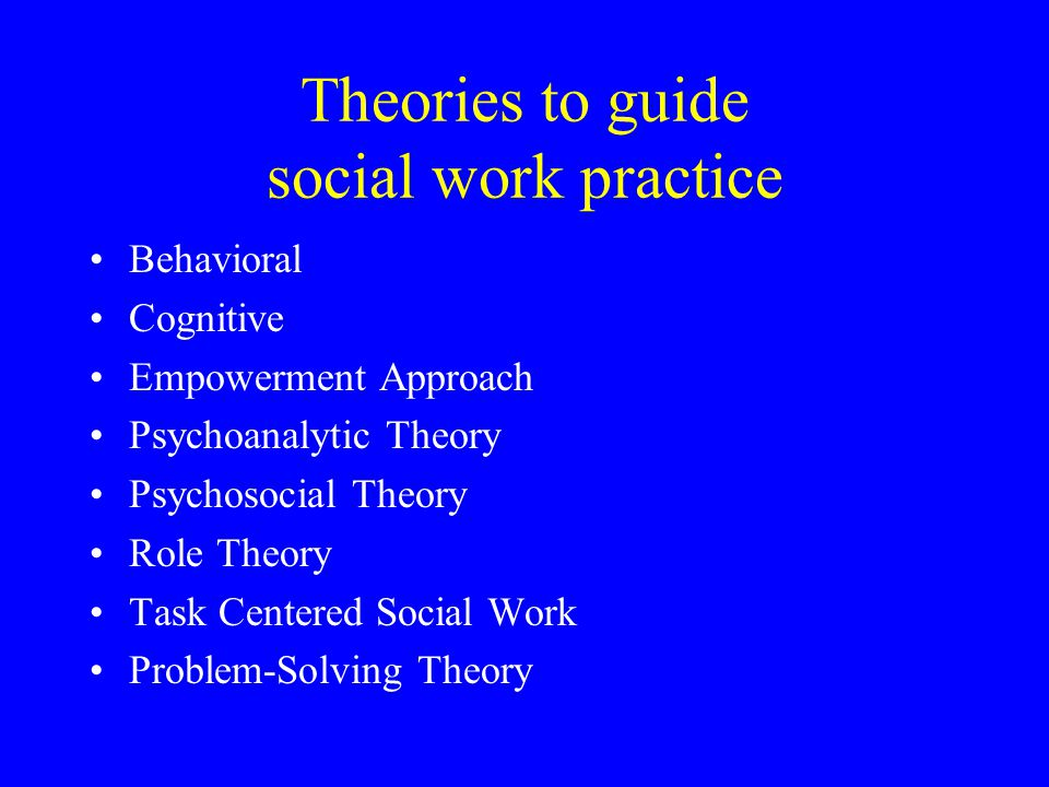Theories to guide social work practice