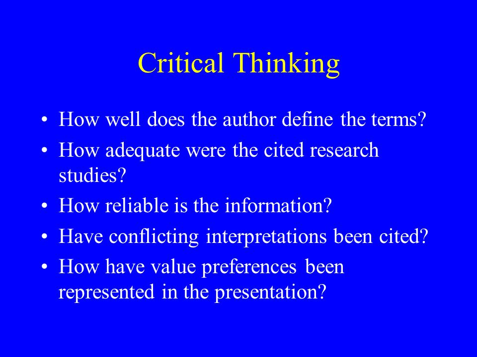 Critical Thinking How well does the author define the terms