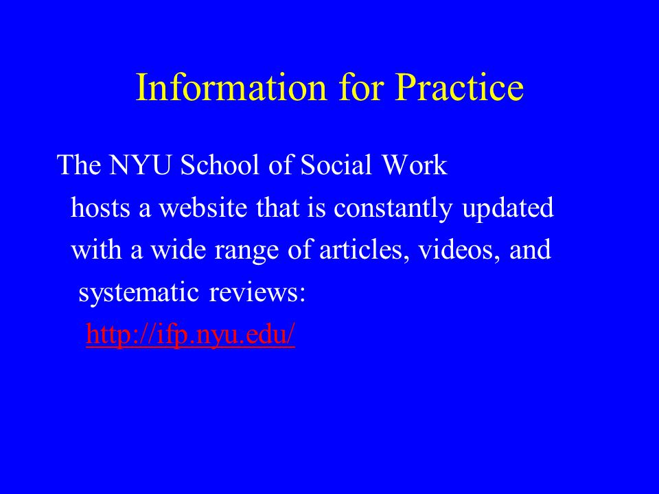 Information for Practice
