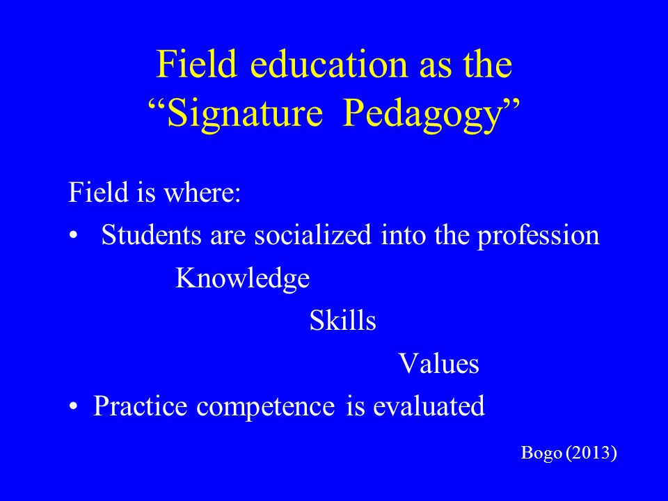 Field education as the Signature Pedagogy