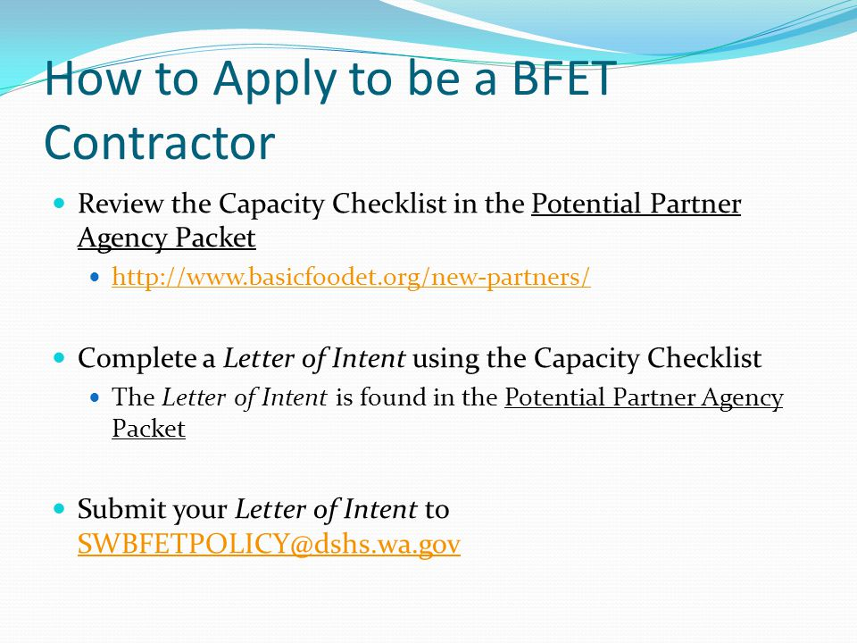 How to Apply to be a BFET Contractor