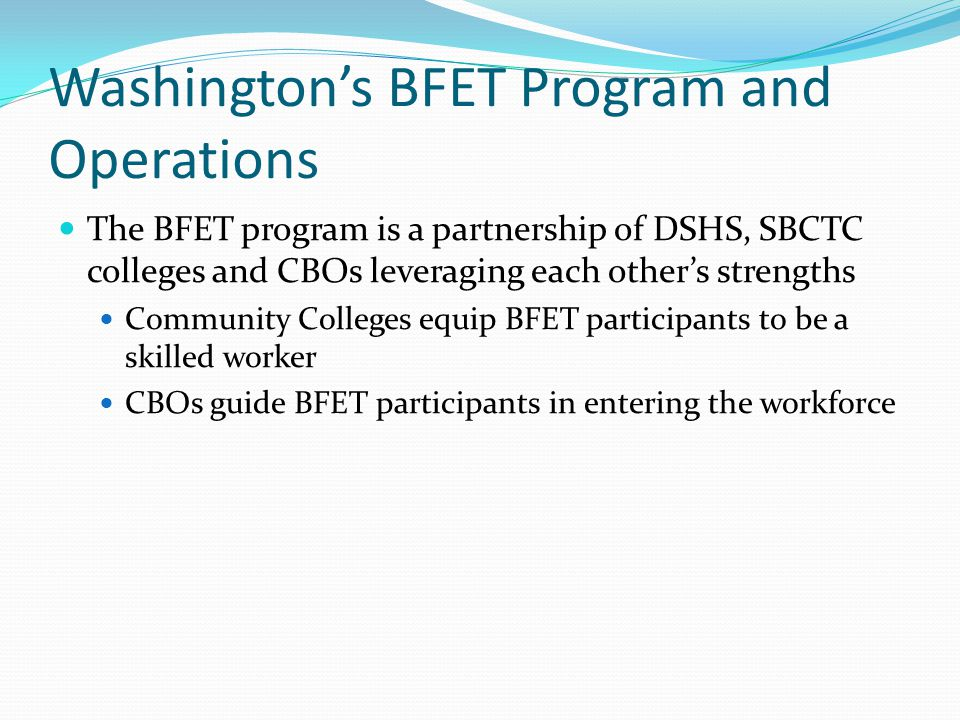 Washington's BFET Program and Operations