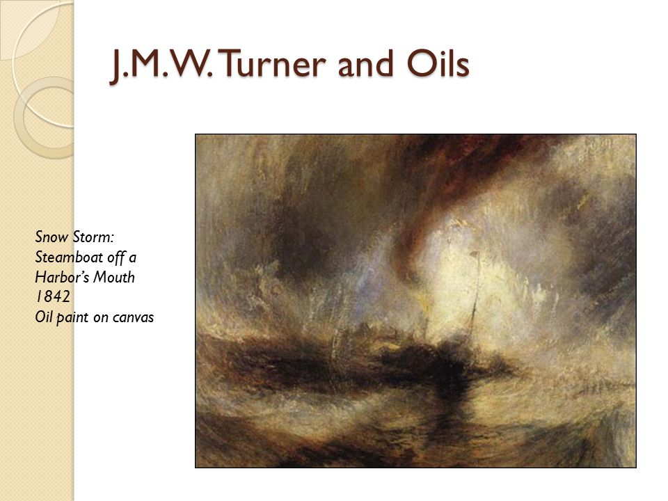 J.M.W. Turner and Oils Snow Storm: Steamboat off a Harbor's Mouth 1842