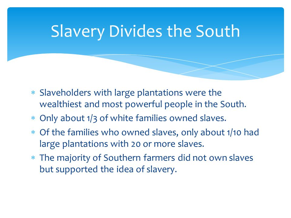 Slavery Divides the South