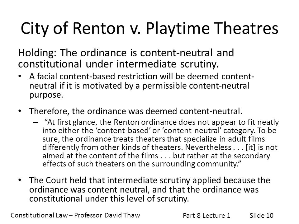 City of Renton v. Playtime Theatres