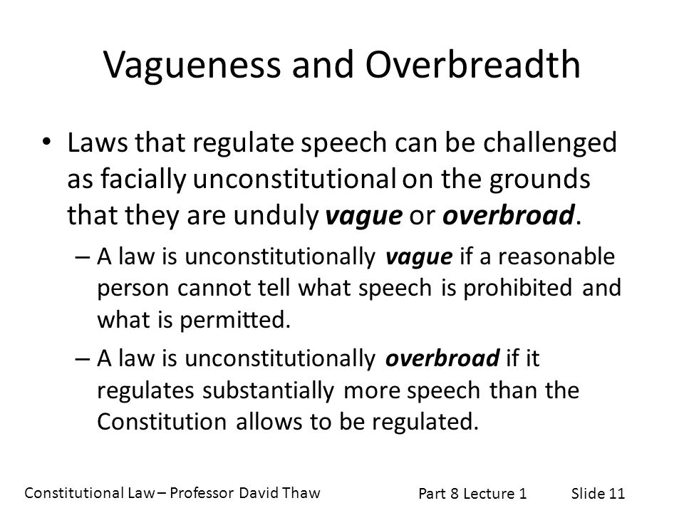 Vagueness and Overbreadth