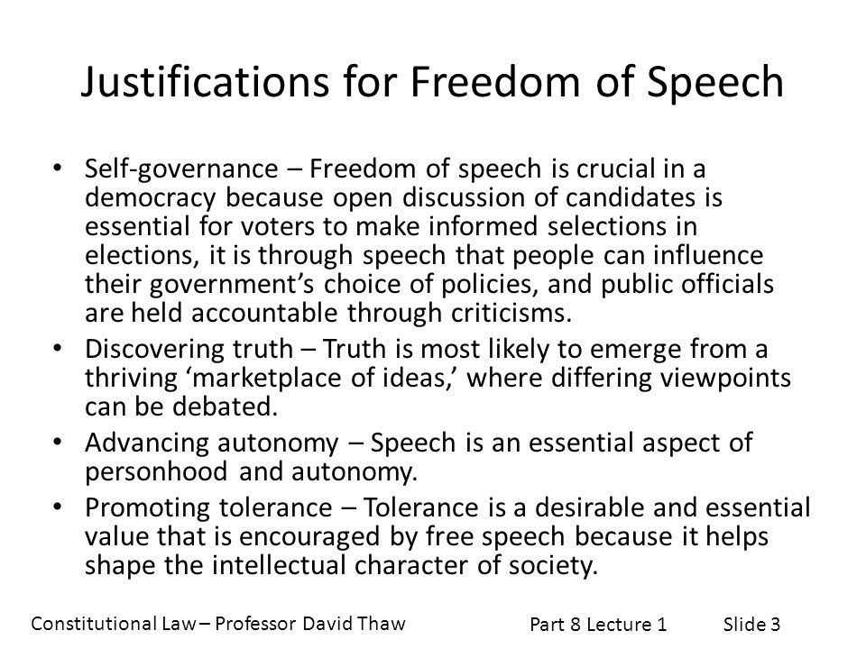 Justifications for Freedom of Speech