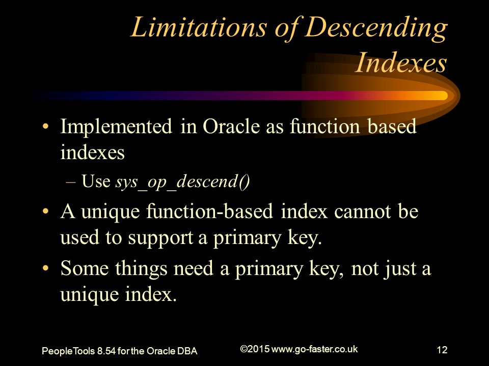 Limitations of Descending Indexes