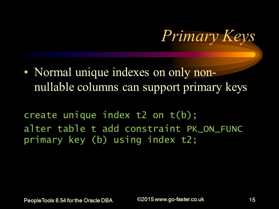 Primary Keys Normal unique indexes on only non-nullable columns can support primary keys. create unique index t2 on t(b);