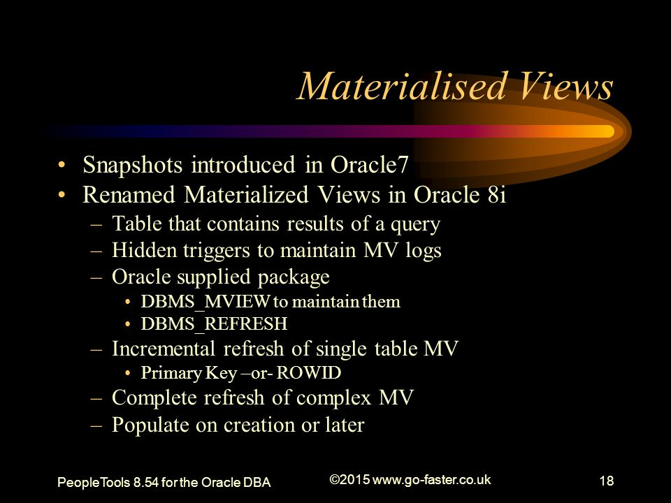 Materialised Views Snapshots introduced in Oracle7