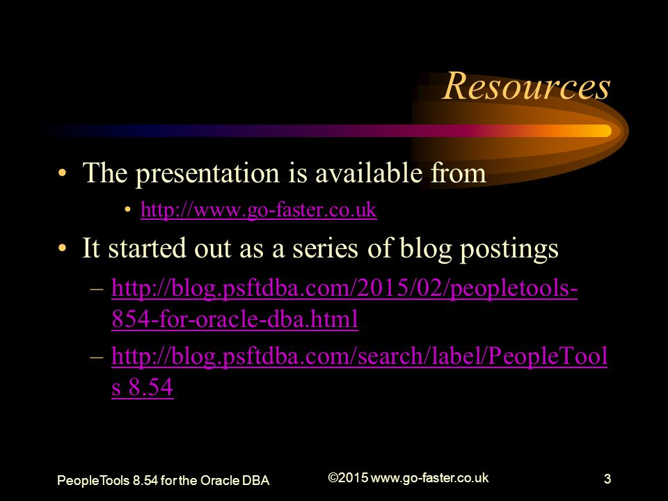 Resources The presentation is available from