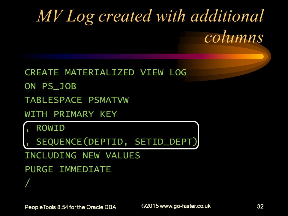 MV Log created with additional columns