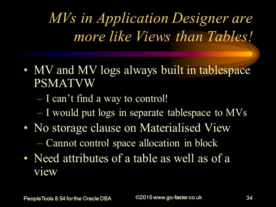 MVs in Application Designer are more like Views than Tables!