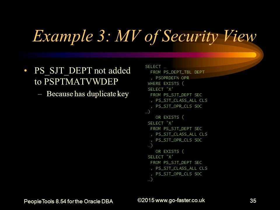 Example 3: MV of Security View