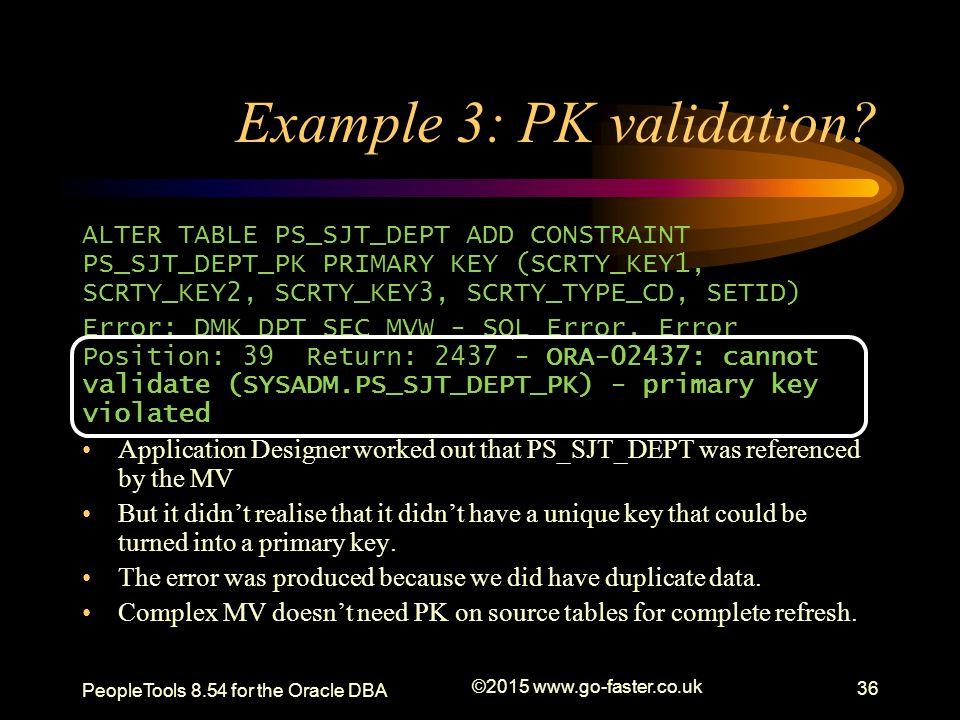 Example 3: PK validation