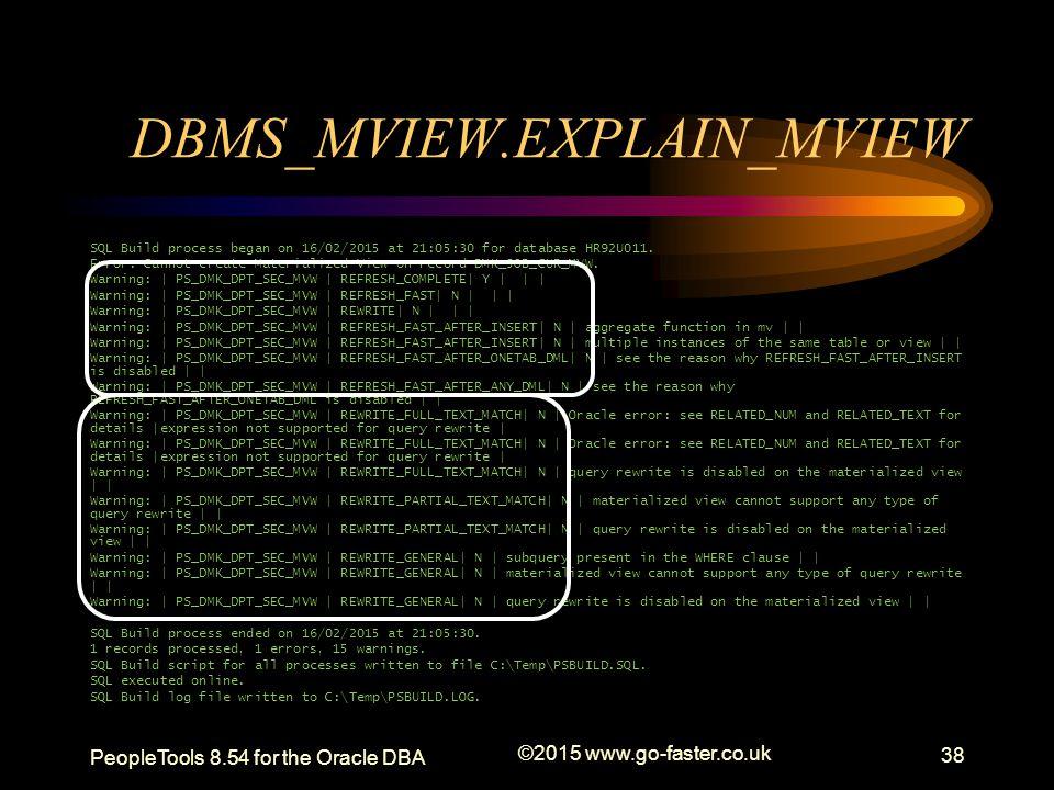 DBMS_MVIEW.EXPLAIN_MVIEW