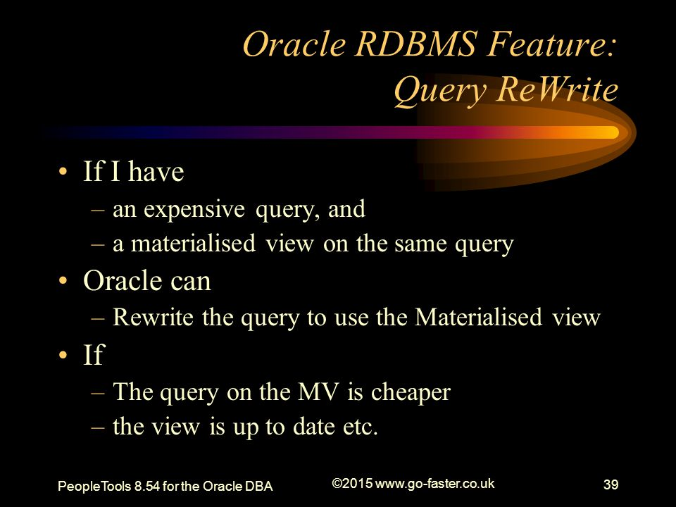 Oracle RDBMS Feature: Query ReWrite