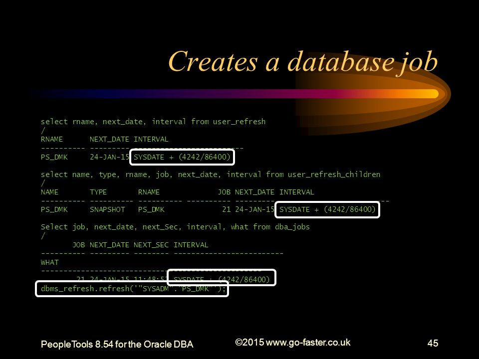 Creates a database job PeopleTools 8.54 for the Oracle DBA