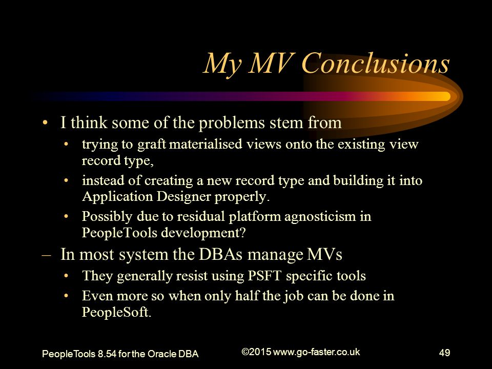 My MV Conclusions I think some of the problems stem from