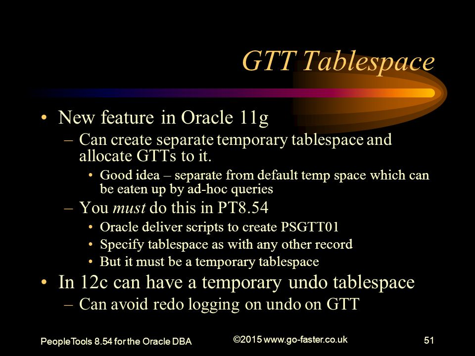 GTT Tablespace New feature in Oracle 11g