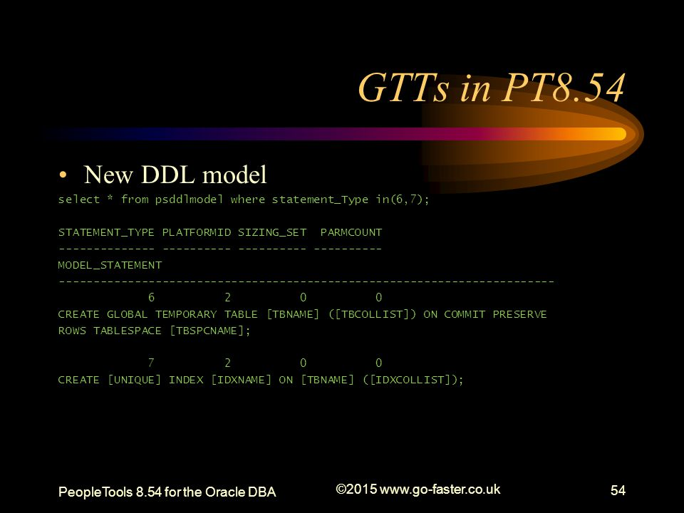 GTTs in PT8.54 New DDL model PeopleTools 8.54 for the Oracle DBA