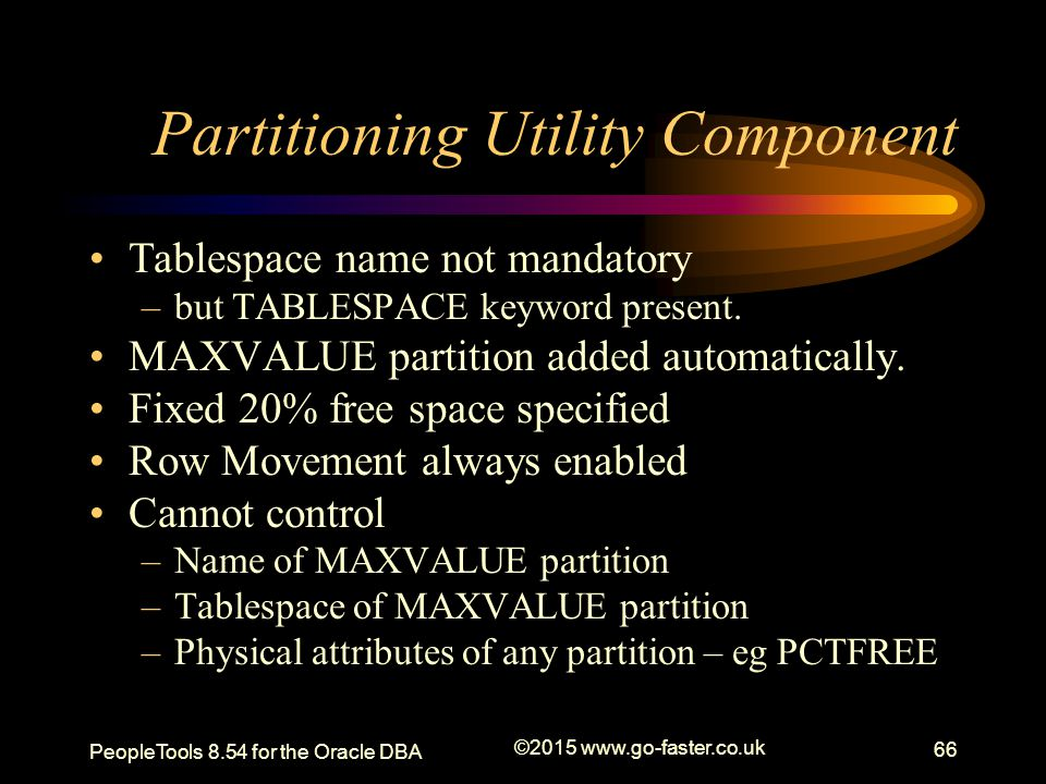 Partitioning Utility Component