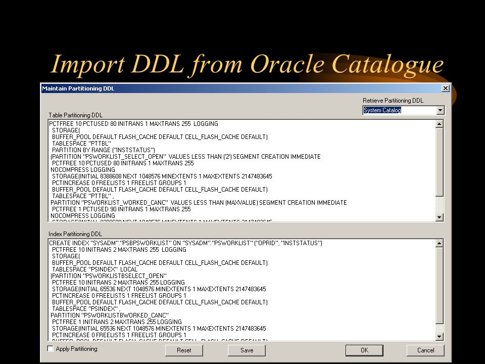 Import DDL from Oracle Catalogue