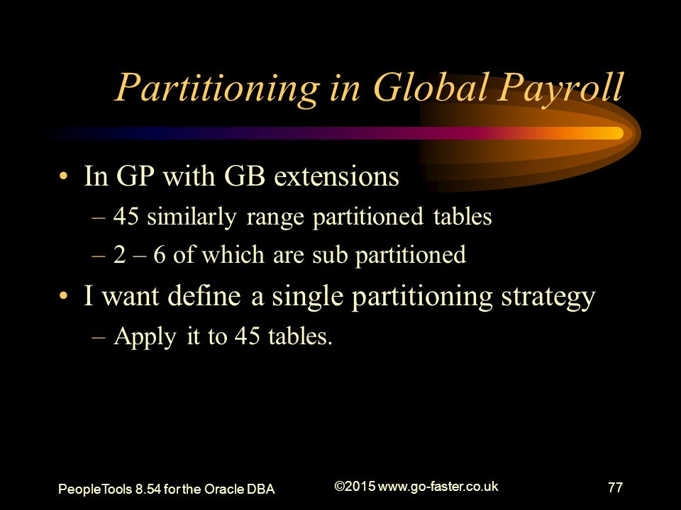 Partitioning in Global Payroll
