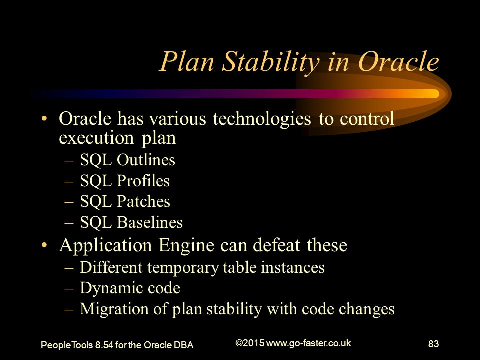Plan Stability in Oracle