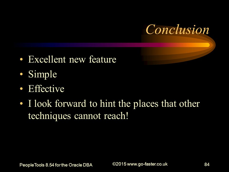 Conclusion Excellent new feature Simple Effective
