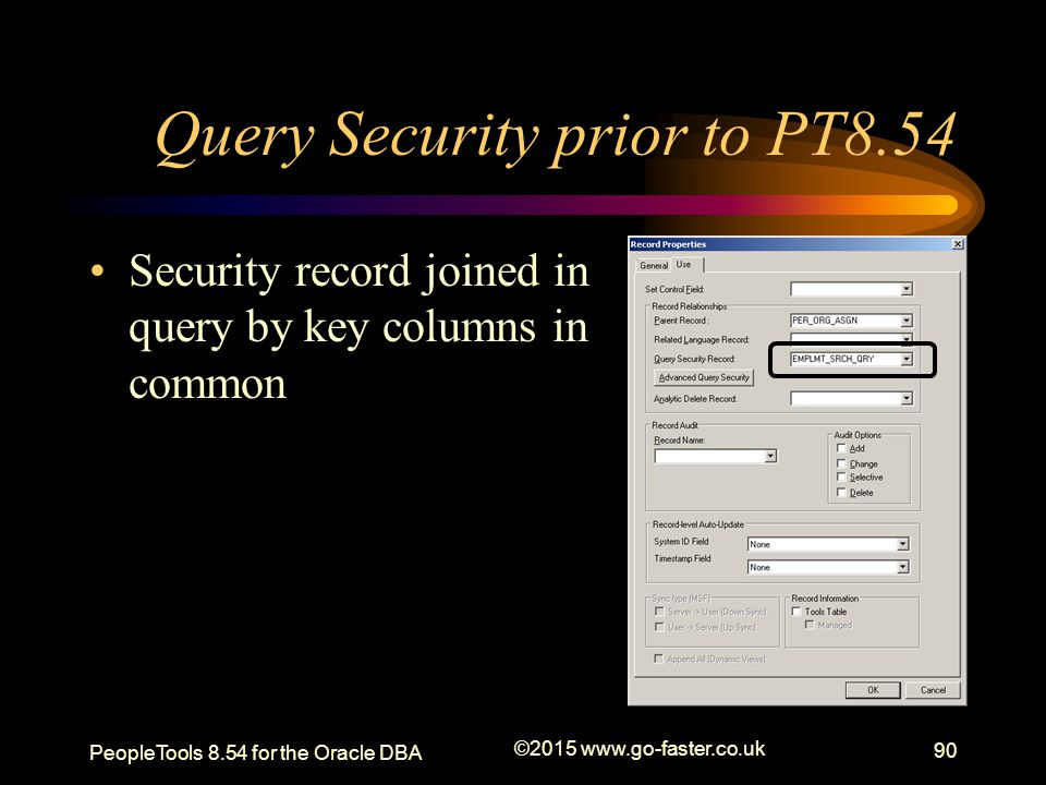 Query Security prior to PT8.54