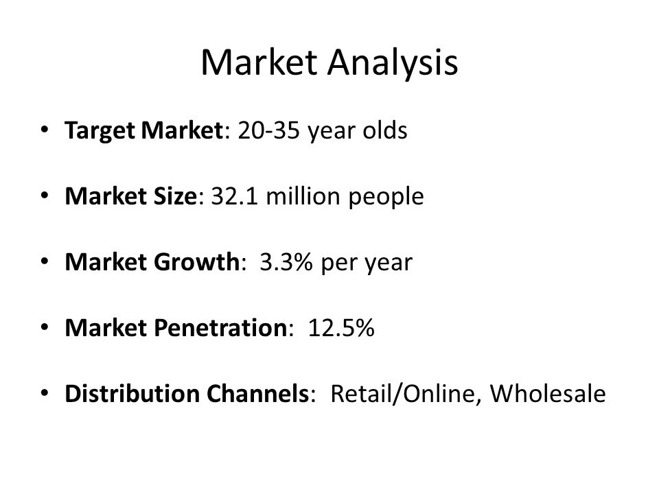Market Analysis Target Market: 20-35 year olds