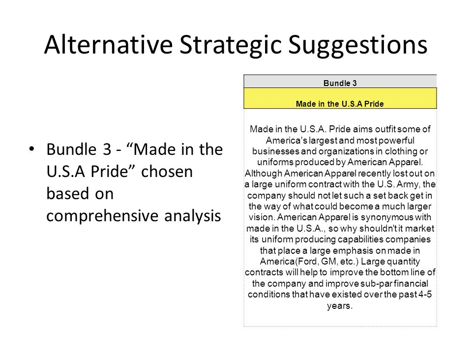 Alternative Strategic Suggestions