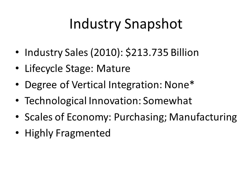 Industry Snapshot Industry Sales (2010): $213.735 Billion