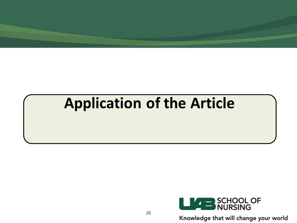 Application of the Article