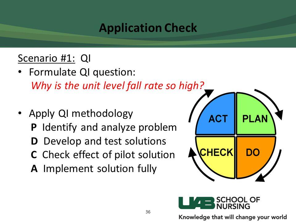 Application Check Scenario #1: QI Formulate QI question: