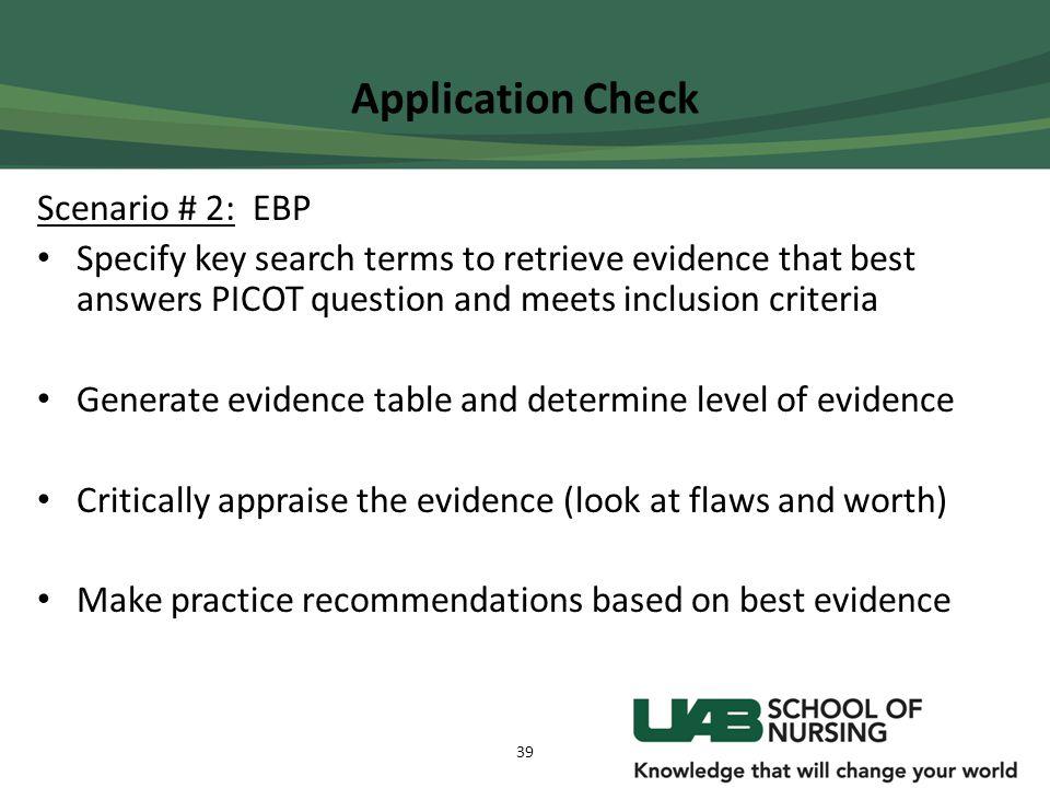 Application Check Scenario # 2: EBP