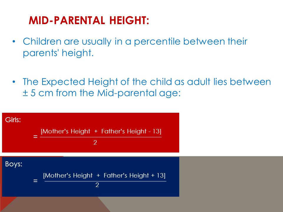 Mid-Parental Height: Children are usually in a percentile between their parents height.