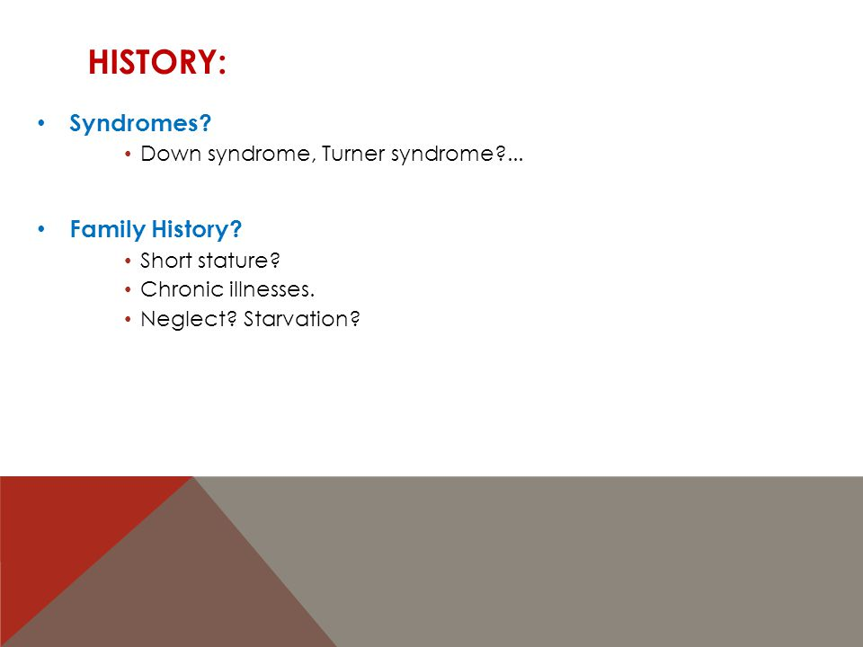 History: Syndromes Family History Down syndrome, Turner syndrome ...