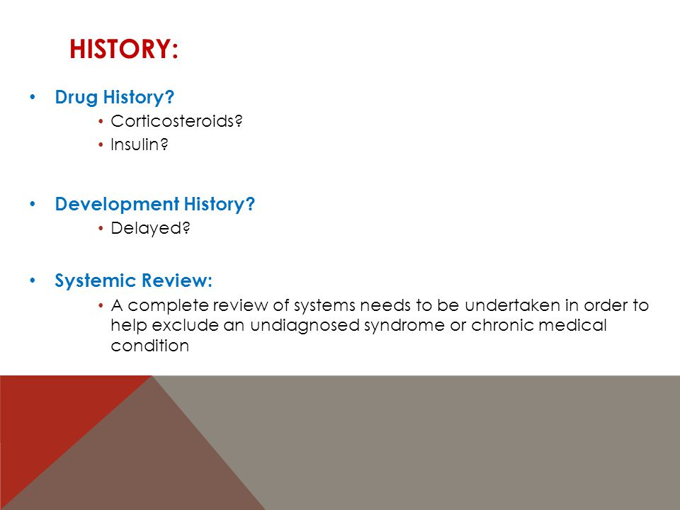 History: Drug History Development History Systemic Review: