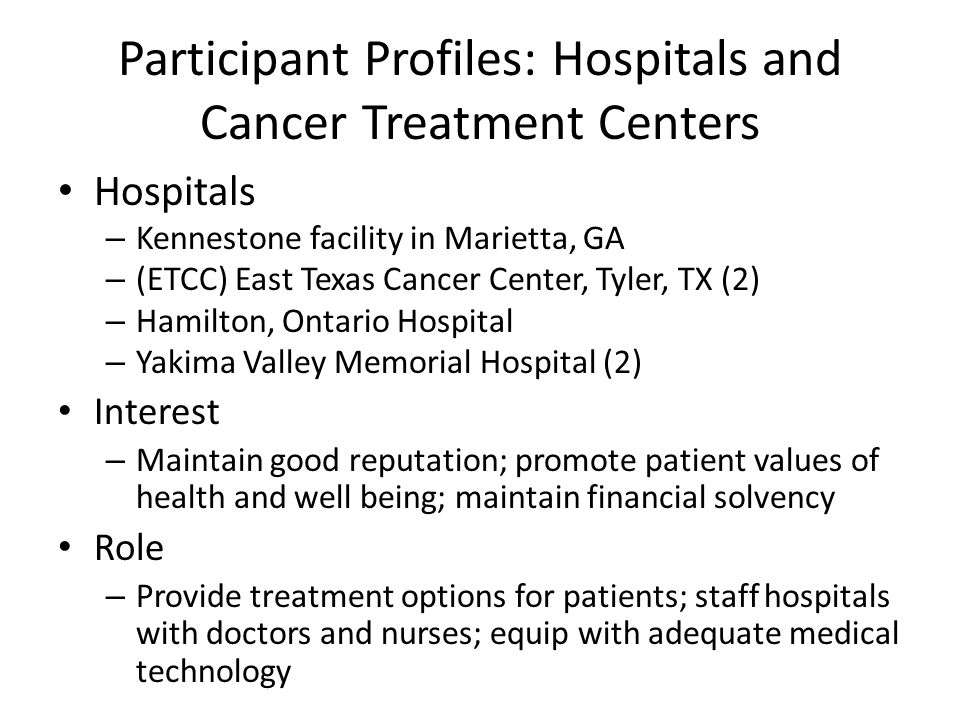 Participant Profiles: Hospitals and Cancer Treatment Centers