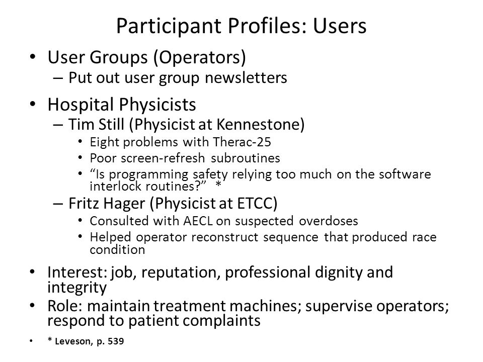 Participant Profiles: Users