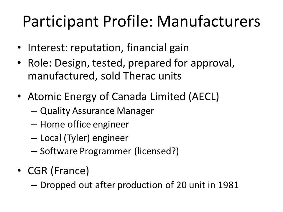 Participant Profile: Manufacturers