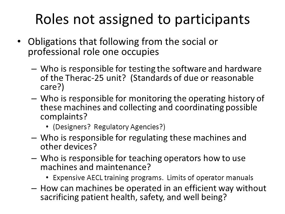Roles not assigned to participants