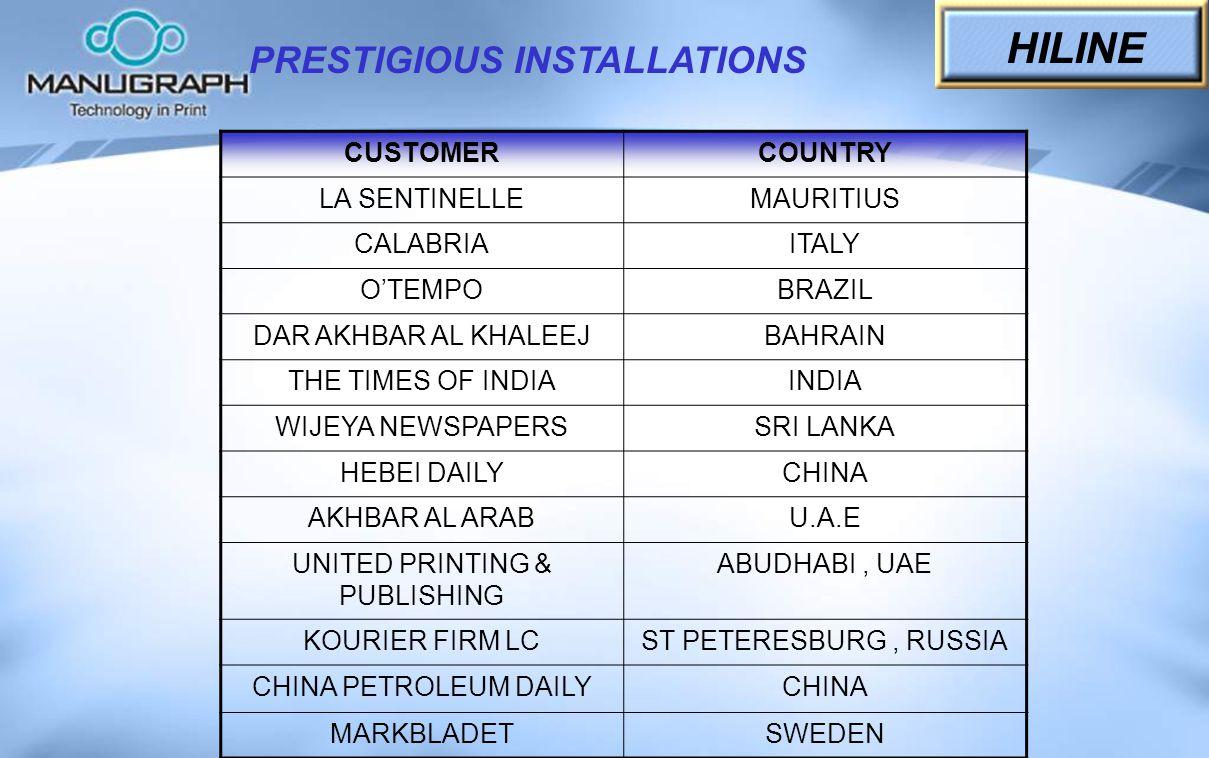 PRESTIGIOUS INSTALLATIONS