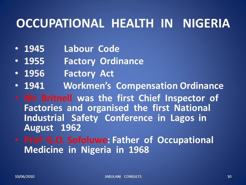OCCUPATIONAL HEALTH IN NIGERIA