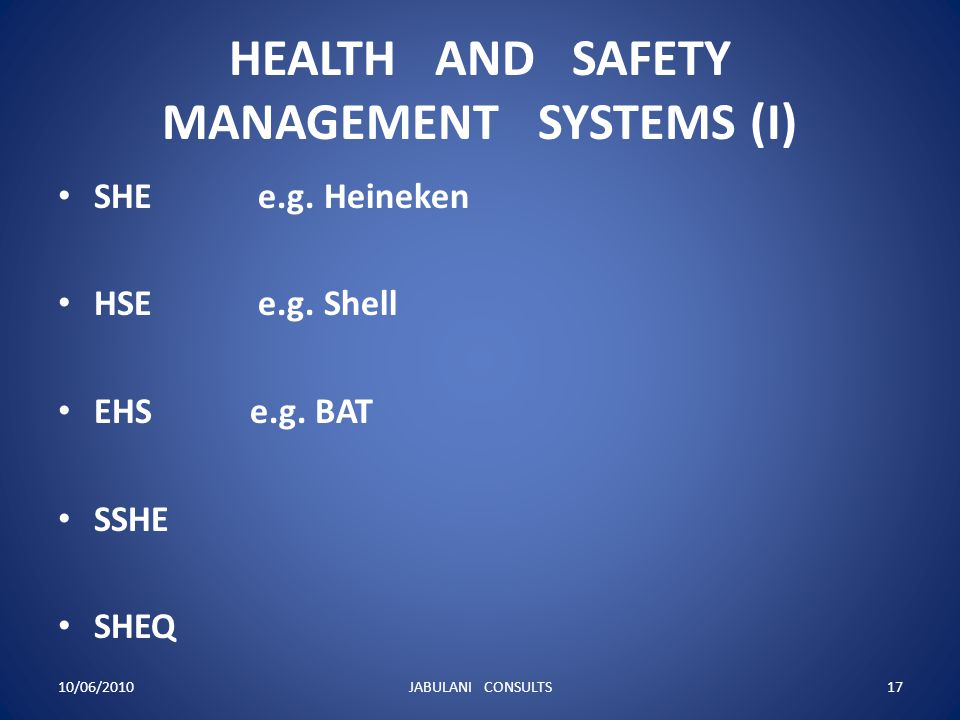HEALTH AND SAFETY MANAGEMENT SYSTEMS (I)