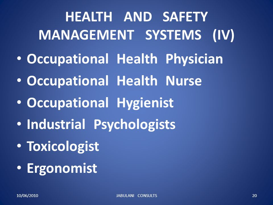HEALTH AND SAFETY MANAGEMENT SYSTEMS (IV)