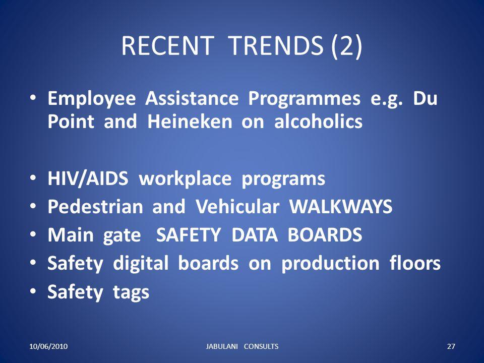 RECENT TRENDS (2) Employee Assistance Programmes e.g. Du Point and Heineken on alcoholics.
