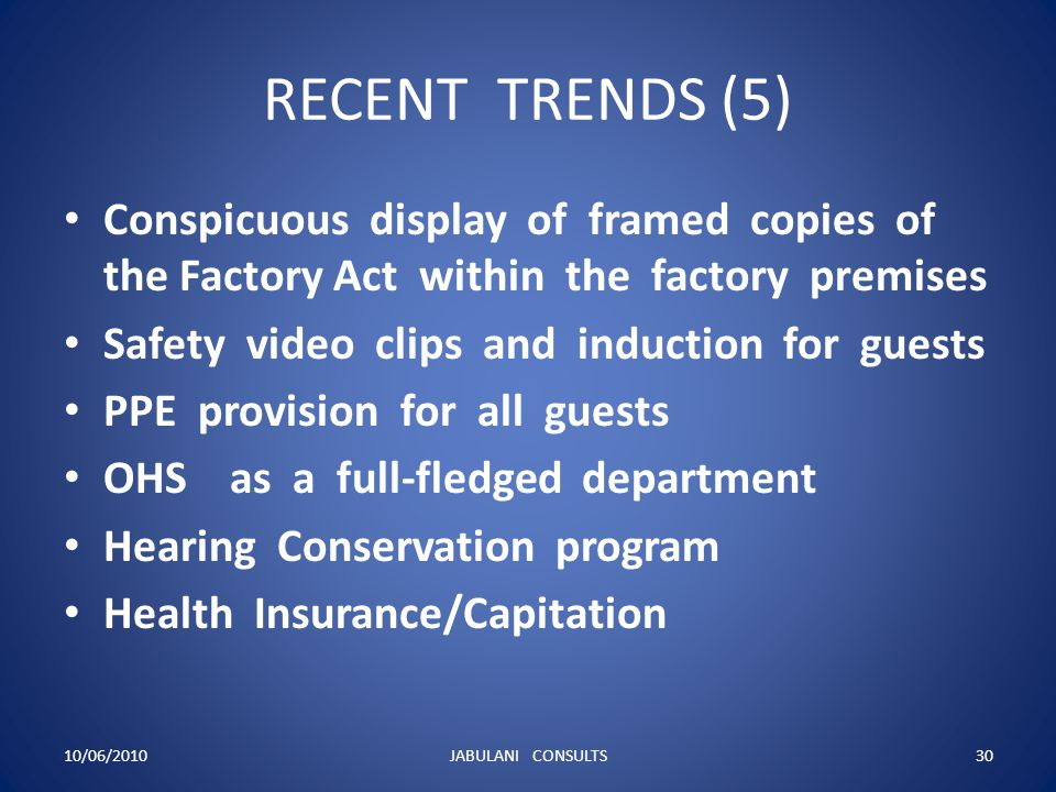 RECENT TRENDS (5) Conspicuous display of framed copies of the Factory Act within the factory premises.